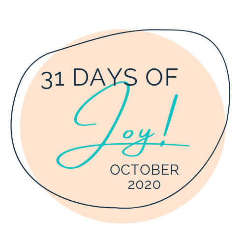 Logo with text: 31 Days of Joy; October 2020
